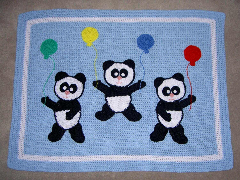 Free Crochet Panda Afghan Patterns : PDF Panda Bears Baby Afghan / Blanket Crochet Pattern