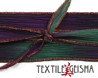 """SILK RIBBON TIES: 1/2""""x36"""" Handmade and Hand-dyed Silk Ribbon Ties for Necklaces, Wrap Bracelets & Embellishments with Metallic Edge"""