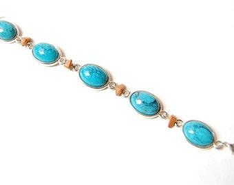 Vintage Silver Tone Faux Turquoise Link Bracelet