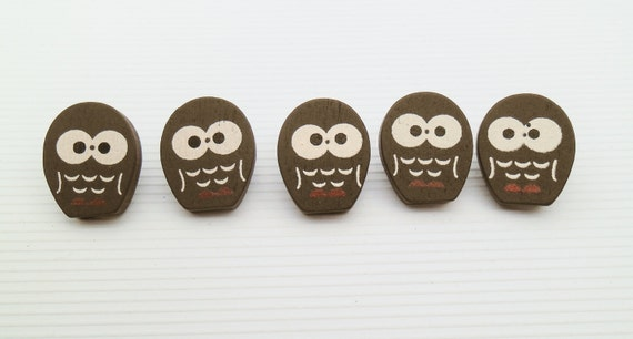 Wooden Kawaii Owl Buttons Wooden Buttons Novelty Buttons Kawaii Buttons NOV06 Decoden Scrapbooking