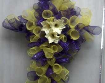 Purple and Yellow deco mesh cross. For Easter, Mother's Day, and cemetary. Price Reduced!