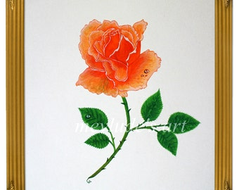 An Original, lovely GOUACHE Painting of a single rose