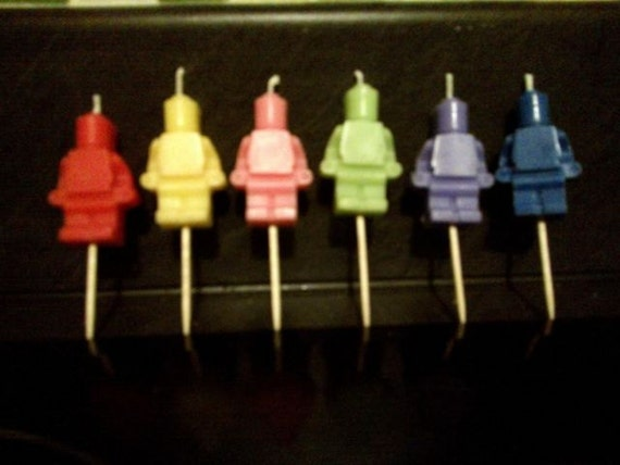 Lego Mini Figure Birthday Candles Cake Topper X 6