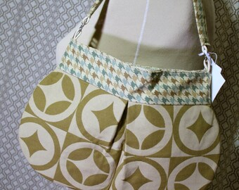Tan Fabric Shoulder Bag, Handmade Handbag, Fabric Purse, Tonya Bag