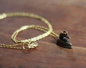 Antiqued Brass Iron Charm Necklace