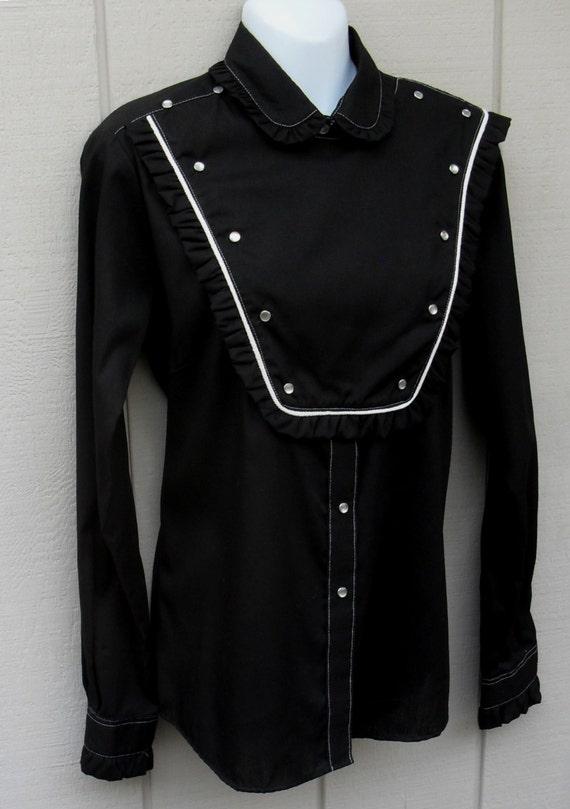 1950 39 s western cowboy bib shirt by rockmount ranch wear for Ranch dress n rodeo shirts