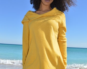 The Cara Mia Hooded Top in Organic Hemp Jersey. Made to order.