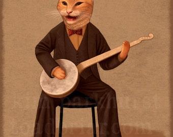 Banjo Kitty Musician - signed orange cat print