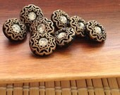 Czech glass button black and gold with rhinestone center 14mm