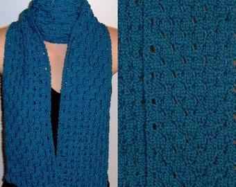 Hand Knit Merino Wool Scarf Caribbean Blue