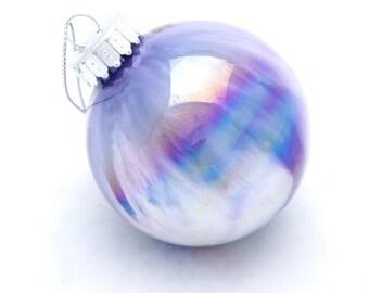 "Purple Iridescent Ornament Painted Inside 2-1/4"" Handmade Collectible OOAK Glass Christmas Decor Ball"