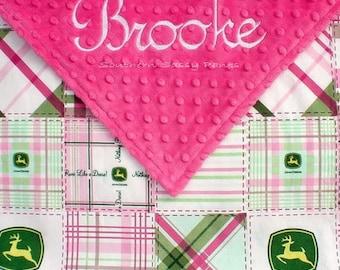 Baby Girl John Deere Blanket , John Deere Tractors and Minky Blanket - Personalized for Baby Girl