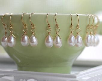 Freshwater Pearl Earrings, Set of Pearl Earrings, Gold Pearl Earrings, Bridesmaid Gifts, Dainty Teardrop Pearl Earrings, Ivory Pearls, Drop