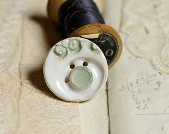 pretty ceramic button, she is a sew on button