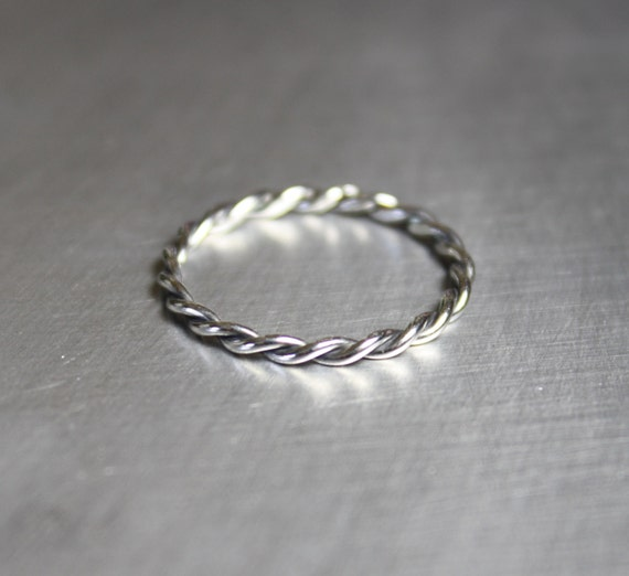 silver twist ring braided ring thin silver ring by