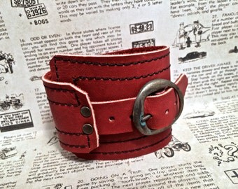 Oxblood Leather Cuff, Unisex Buckle Wrap - SALE - see Listing for Coupon Codes...