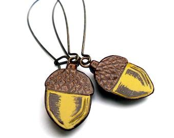 Green and Brown Acorn Dangle Earrings - Fall Acorn Jewelry