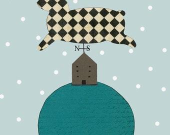 "Clearance 5x7"" Art Print. Folk Art Rabbit Wind Vane Print , Whimsical Collage Art Reproduction Print"