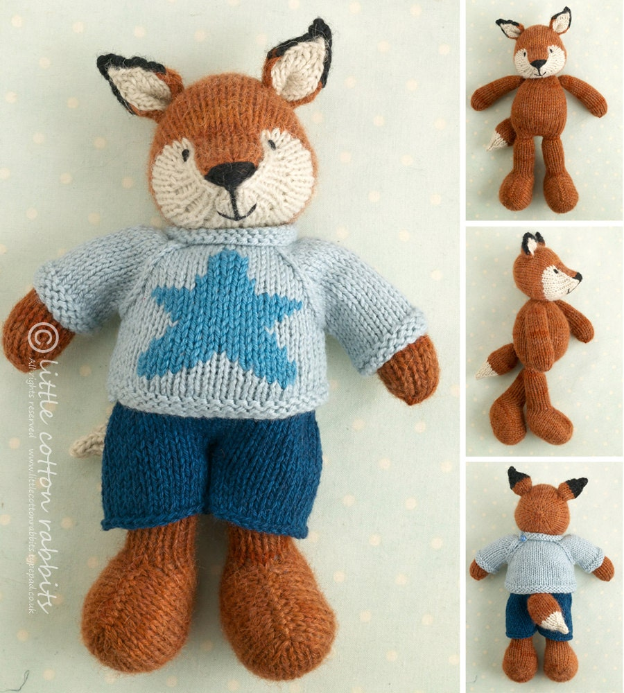 Toy knitting pattern for a boy fox with a star sweater