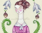 "Acorn, fern, woodland bird Victorian girl art print, ""Fern Folk"""