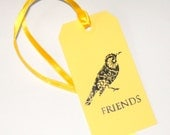 GIFT TAGS / Yellow Friend Bird / Bookmarks / Set of 8 with Envelope option