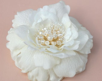 Wedding Hair Flower, Bridal Accessory, Petite Ivory Hair Flower, Bridal Hair Piece, Wedding Accessories -  Mini Bijou