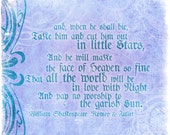 Romeo and Juliet little stars William Shakespeare purple love quote