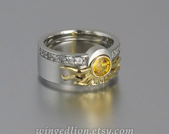 RESERVED for M. 1st payment - Sun and Moon ECLIPSE engagement set in 18k & silver