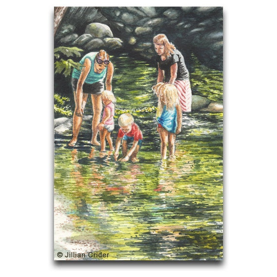 SALE Reduced Original Watercolor Painting women toddlers paddling stream creek water summer boy girls SFA CRIDER