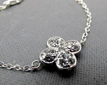 "Silver Plated Clover Bracelet // Rhinestone Four Leaf Clover Charm // Good Luck // 7"" Chain Bracelet // Gift under 20"