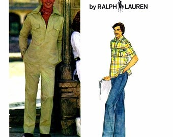 1970s Mens Pullover Shirt Straight Leg Pants Polo Ralph Lauren Vogue 1237 Vintage Sewing Pattern Chest 36 Uncut