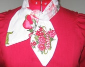Handmade Rockabilly Fashion Scarf\/ 1950's Fabric\/Fruit, Spices, Flowers,  Butterflies-Tea Time