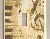 Single Toggle Light Switch Plate - Brown and Tan Piano and Treble Clef