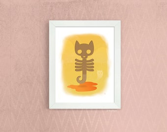 Catsicle Skeleton --- instant download art print