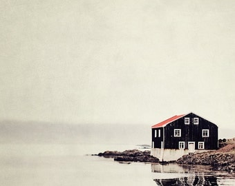 "Rustic Landscape Photography, Minimalist Wall Art, Nordic Cabin Decor, Large Wall Art, Iceland Travel, Red Black ""Ordinary Silence"""