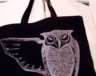 Awesome OWL jumbo tote bag screen printed silver on black recycled fabric made in the USA original limited edition design halloween wicca