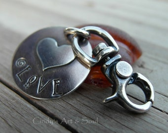 Love Heart Charm Hook Clasp Large Sterling Silver Accessory Key Chain Lobster