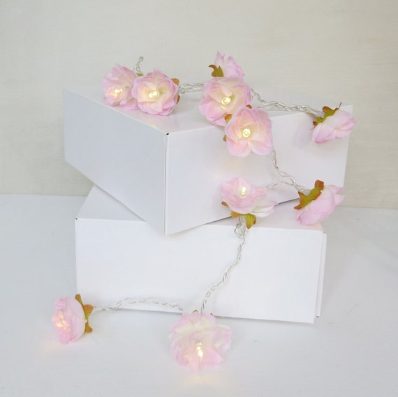 Pale Pink Shabby Rose Fairy String Lights Pretty by PamelaAngus