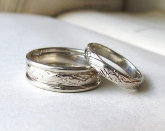 14kt White Gold Wedding Band Set Patterned Wedding Rings Set White gold wedding rings