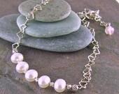 Pearl Bracelet Sterling Silver Heart Link Bracelet Handmade Adjustable Bracelet Fine Silver Rose Quartz June Birthstone Jewelry Gift For Her