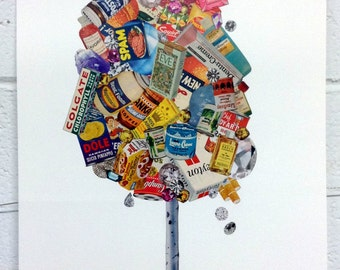 Collage on Paper-Birch Tree Made of Jewels & Products