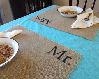 Mr. & Mrs. Set of burlap placemats