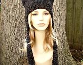 Knit Hat Womens Hat - Ear Flap Hat Cat Hat in Black Grey Maroon Knit Hat Blackstone Hat Womens Accessories Winter Hat - READY TO SHIP