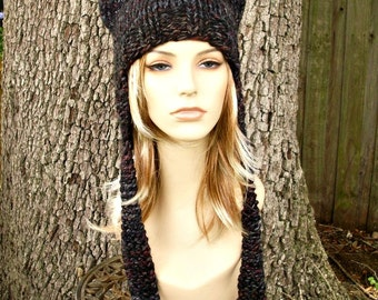 Knit Hat Womens Hat - Ear Flap Hat Cat Hat in Black Grey Maroon Knit Hat Blackstone Hat - Ear Hat Winter Hat