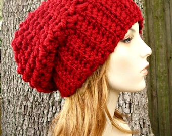 Cranberry Red Crochet Hat Red Womens Hat Slouchy Beanie Slouchy Hat - Souffle Beret Red Hat Red Beanie Red Beret Womens Accessories
