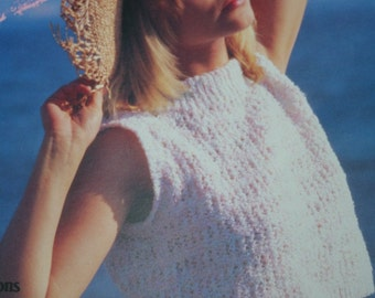 Knitting Patterns Warm Weather Knits Beehive Patons 496 Women Sweater Tank Top Vest Vintage Paper Original NOT a PDF