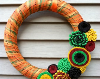 Fall Wreath - Fall Plaid Patterned Ribbon Decorated w/ Felt Flowers. Fall Wreath - Thanksgiving Wreath - Felt Flower Wreath - Autumn Wreath