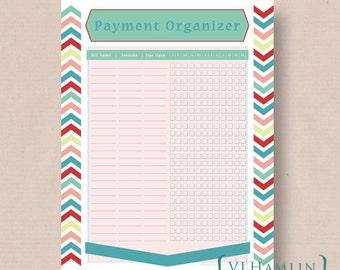 Printable Payment Organizer, Bill T racker, Finance Planner, Bright ...