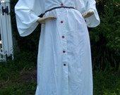 White Angel Robe w Red Trim Hand Made Cotton Fabric Kimono Bath Robe Adult Vintage
