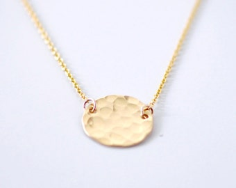 Round hammered coin necklace - gold coin necklace - hammered round pendant - gold circle necklace - circle charm - simple jewelry- Gold Moon